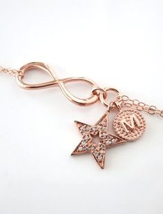 Personalized Rose Gold Infinity and Lucky Star