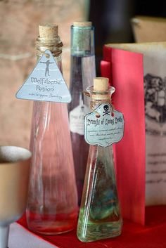 Harry Potter Wedding Ideas Potion bottles table decor | by kayleighanderson88