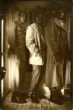 3 Black Soldiers and American Flag WWII