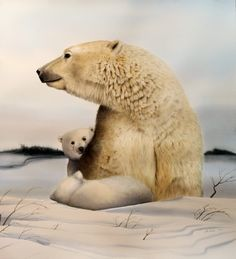 Polar Bear with Cubs, original watercolor by Turi MacCombie   R. Michelson Galleries