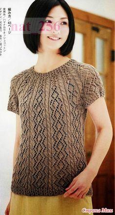 Пуловер с круглой кокеткой связанный от горловины. Спицы.