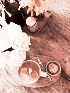 Latte cappuccino coffee and flower by mutita.narkmuang on Creative Market