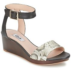 Clarks new collection, this is the Ornate Jewel sandal in Black Snake, with a trendy wedge heel and ankle strap. #shoes #sandals #wedges #clarks #spartoouk