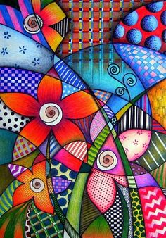 by Sandra p.Köche by darcy (Bottle Painting Mandala) Arte Pop, Pop Art, Art Fantaisiste, Whimsical Art, Art Plastique, Doodle Art, Art Lessons, Art Drawings, Art Projects