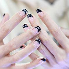 Nail Unistella by EK . Lab — [#유니스텔라트렌드]❤️  블랙 프렌치에 핑크 라인으로 포인트! ...