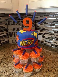 Nerf cake and cupcakes Nerf cake and cupcakes Best Picture For Nerf Gun Birthday Nerf Birthday Party, Nerf Party, 11th Birthday, Birthday Cakes For Boys, Bolo Nerf, Pistola Nerf, Nerf Gun Cake, Gun Cakes, Kobe