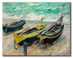 MU_MN2057 _ t_Monet _ Three Fishing Boats / Cuadro Marino, Botes de Pesca