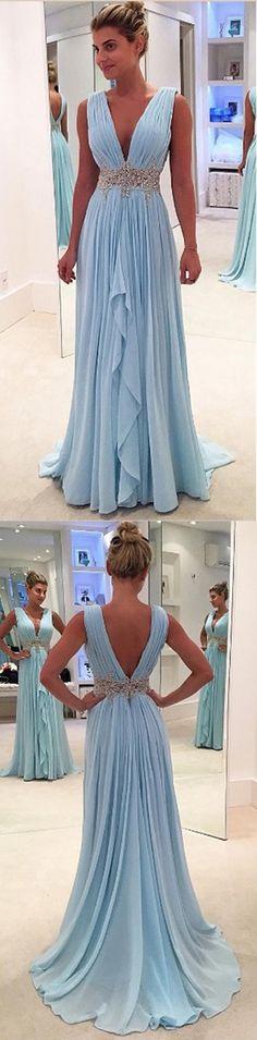 Blue A Line Floor Length Deep V Neck Sleeveless Deep V Back Beading Ruffles Prom Dress P72  Long Prom Dresses,Cheap Prom Dress,Party Dresses,Prom Gowns,Gowns Prom,Evening Dresses,Cheap Prom Dresses,Dresses for Girls,Prom Dress UK,Prom Suit,Prom Dress Brand,Prom Dress Store, Party Dress