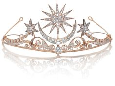 A diamond tiara/brooch/ring combination, circa 1900 The central sunburst and crescent moon motifs above a large cushion-shaped diamond, on a scrolling frame of shooting stars, set throughout with old brilliant-cut diamonds, mounted in gold, principal diamond approximately 1.75 carats, remaining diamonds approximately 14.00 carats total, brooch, hair ornaments, ring and tiara fittings and screw supplied, fitted case by Cav. Vincenzo Giura Giojelliere, Napoli