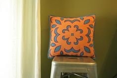 Stenciled Reverse-Applique Hand-Stitched Pillow tutorial by Artsy-Crafty Babe #sew #diy #homedec