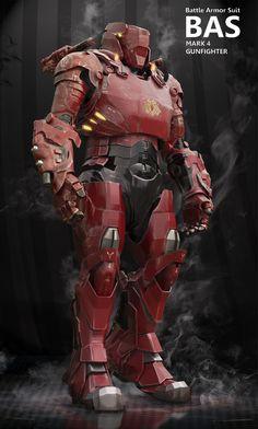 concept robots: Battle Armor Suit Mark 4 Gunfighter by Henry Pashkov