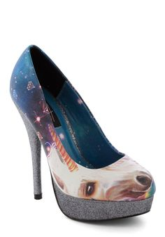 PRESENT: Unicorn...heels? With silvery sparkling soles? Mind. Blown. Amazing! To top it off they also have a space galaxy pattern on the other side... (ModCloth, 2012)