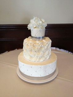 Small 3 Tier Wedding Cake With Rosettes And Flowers Weddingcakes