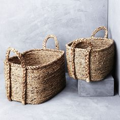 Waterhyacinth Oval Baskets with Plaited Handles from INARTISAN