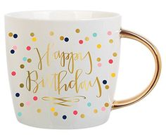14 oz Happy Birthday Mug with Multicolored Confetti and Gold Foil Handle. Makes the perfect birthday gift for friend or best friend birthday gift coworker gift employee gift teacher giftgift for ...