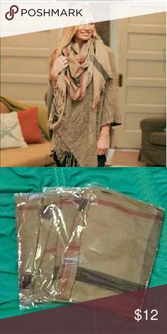 Khaki Plaid Scarf Very cute! Goes with so much! I wear mine with almost everything! Accessories Scarves & Wraps