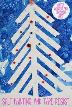 Winter Wonderland Christmas Art - Salt Painting and Tape Resist-paint with watercolors over tape and sprinkle on salt after pull tape from top Preschool Christmas, Noel Christmas, Christmas Crafts For Kids, Holiday Crafts, Kids Crafts, Snow Crafts, Art Lessons For Kids, Art For Kids, Salt Painting