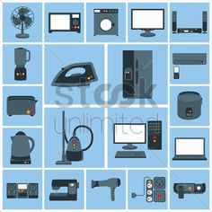 various home appliances and household items Stock Vector