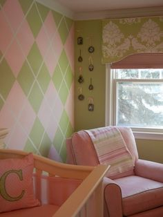 Baby Girl Nursery - Fashionably Preppy, pink and green. The walls are painted not wallpaper.   Angel Wall - all of our loved ones who passed away to watch over our little girl