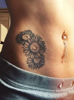 Sunflower Hip Tattoo