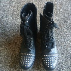 Studded Combat Boots Perfect condition, only worn about three times. Zipper on the sides so you can easily get them on. Studs on the toe and heel. Laces in the front just for show. Price is firm, no trades. Bundle & save! :) Candie's Shoes Combat & Moto Boots