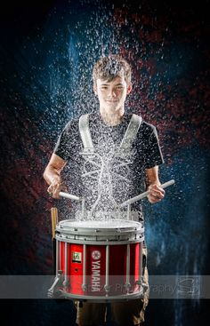 senior, senior pictues, drum, marching band, snare drum, water, wet, splash, rain