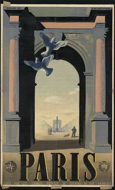'Paris' by A.M. Cassandre. 20th century. #travel #poster #paris