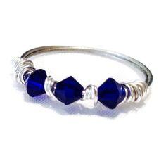 Silver wire wrap ring, statement ring,Swarovski crystal, crystal ring