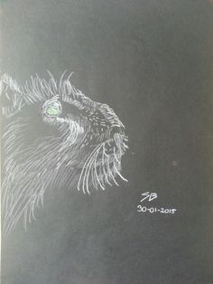Tiger drawing; white on black paper