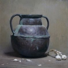 Daniela Astone - Still Life With Garlic - oil on canvas - 21,5  x21,5 in@The Grenning Gallery