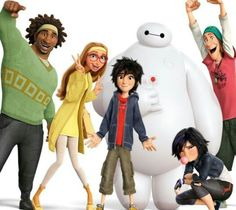 Wasabi, Honey Lemon, Hiro, Baymax, Go-Go, and Fred. Big Hero 6.