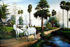 Image may contain: tree, horse, sky, outdoor and nature Village Scene Drawing, Art Village, Indian Village, Asian Landscape, Fantasy Landscape, Landscape Art, Landscape Paintings, Beautiful Drawings, Beautiful Paintings