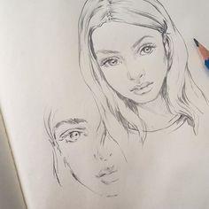 Practice practice. Reference via @thedownlowe and @sophiafrankish ✌🏼️ #drawing #sketch #beauty #pencil #art #moleskine #doodling #eyes #artemuse