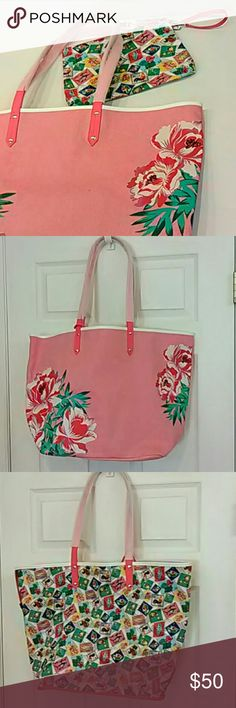 2pc Beach tote wristlet SET Oxford Floral Brand new in watermelon pink and white woven canvas, this is a cute beach tote with flowers printed on the front.  It has pink faux leather straps and is reversible, so can be turned inside out to show the Cuban Stamps pattern.  The large wristlet in matching Cuban Stamps can be clipped and unclipped easily.  It is lined with vinyl so can be used to store a wet swimsuit. I have a matching Backsack also available. Vera Bradley Bags Totes