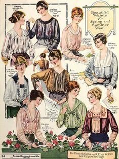 womens blouses world war I era early Vintage Gowns, Blouse Vintage, Vintage Outfits, Vintage Wardrobe, Vintage Clothing, Edwardian Gowns, Edwardian Fashion, Retro Fashion, Vintage Fashion