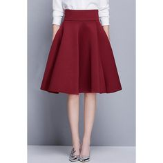 Elegant Solid Color High Waist Bubble Skirt ($24) ❤ liked on Polyvore featuring skirts, high waisted knee length skirt, high waisted bubble skirt, high waisted skirt, high rise skirts and high-waist skirt
