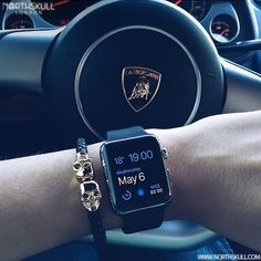 Fan Instagram Pic ! | While in his Lamborghini @Mr_karim_ posted a cool photo of his Apple Watch nicely paired with our premium Black Nappa Leather & 18kt. Gold Twin Skull Bracelet. Nice combo ! | Available now at Northskull.com | For a chance to get featured post a cool photo of your Northskull jewelry with the tag #Northskullfanpic on Instagram
