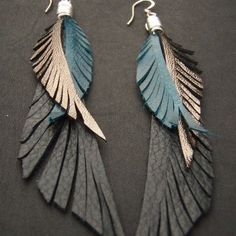 Leather Feather Earrings blue black and gold by CyclonaDesigns, $42.00: