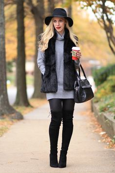 Taste of Winter: Black fur vest, turtleneck tunic, faux fur vest over chunky knit sweater, black wool fedora, leather denim leggings, Stuart Weitzman Highland suede over the knee boots, faux fur vest outfit