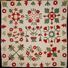 Unknown. Red & Green Sampler. 1876-1900. From Arizona Quilt Documentation Project, D L Miller Quilt Collection. The Quilt Index