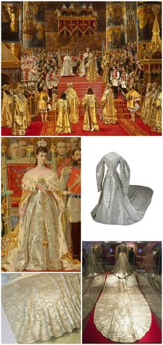 "Coronation dress of Empress Maria Feodorovna, Studio of Izambard Chanceau, embroidery studio of A. Laman, St. Petersburg, 1883. Collection of Moscow Kremlin Museums. Photos via: Moscow Kremlin Museums (three-quarter frontal view); m24.ru (back view); madoa on Flickr (detail of train). Maria Feodorovna can be seen wearing the dress in Georges Becker's 1888 painting, ""The Coronation of Emperor Alexander III and Empress Maria Feodorovna."" Collection of the State Hermitage Museum, St…"