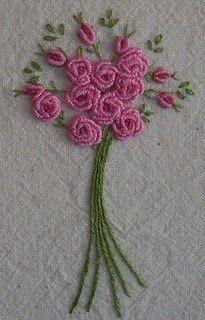 """bullion rose - """"ejemplo de punto de carril, en la formación de flores bordadas""""."""