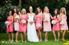 Different shades of pink for bridesmaids dresses  Loren Matt Wedding at Ashton Gardens by Dallas Wedding Photographer Allison Davis Photography