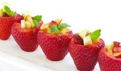 Recipe: Strawberry Fruit Cups Summary: If you don't have to much time to prepare a dessert but you want to be showy, what better than these delicious strawberry fruit cups. Ingredients 1 carton lar...