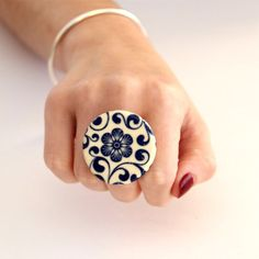 Flower Cocktail Ring  big bold handmade ceramic by StudioLeanne, $30.00