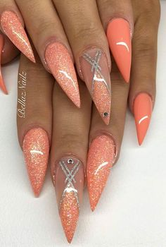 Sexy Nails, Glam Nails, Fancy Nails, Bling Nails, Stiletto Nails Glitter, Metallic Nails, Fabulous Nails, Gorgeous Nails, Pretty Nails