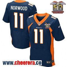 Men's Denver Broncos #11 Jordan Norwood Navy Blue 2016 Super Bowl 50th Championship Patch Stitched NFL Nike Elite Jersey