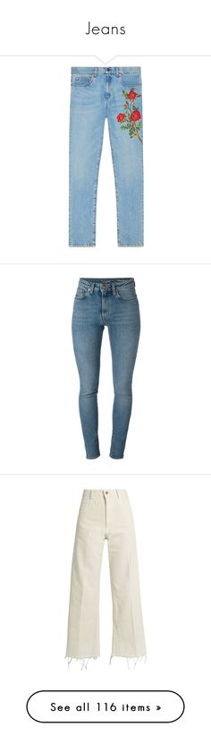 """Jeans"" by jaceoz ❤ liked on Polyvore featuring pants, jeans, bottoms, gucci, jeans/pants, flower pants, blue trousers, blue floral pants, floral pants and floral denim pants"