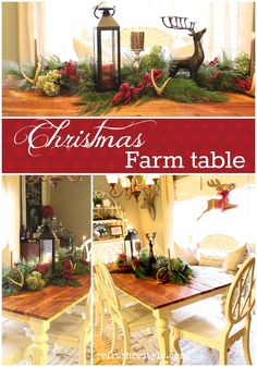 Easy Christmas dining table arrangement. Using thrifted finds, real evergreen and dried hydrangeas. Natural and beautiful.