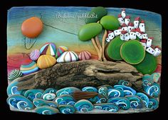 Pebble art with driftwood, painted rocks. Pebble Painting, Pebble Art, Stone Painting, Painting On Wood, Stone Crafts, Rock Crafts, Arts And Crafts, Pebble Stone, Stone Art